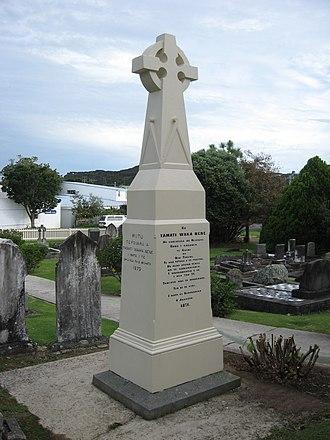Tāmati Wāka Nene - A memorial for Tāmati Wāka Nene, in front of Christ Church, Russell (Māori-language side)