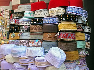 Taqiyah (cap) - Various takiyah on display in Pettah market, Colombo, Sri Lanka.