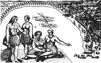 Abel Tasman - Tongatapu, drawing by Isaack Gilsemans