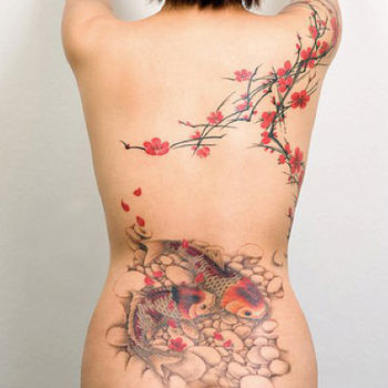 English: Freehand cherry blossoms and koi fish...