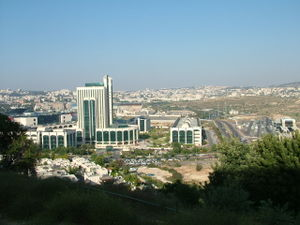 Jerusalem Technology Park - A view of the park from a nearby hill with the Jerusalem Mall (far left) and Malha Railway Station (far right)