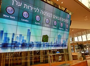 Tel Aviv Stock Exchange - The display in the lobby of the Tel Aviv Stock Exchange