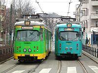 Temporary tram line 22 in Poznan.JPG