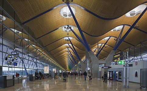 View of the roof of the terminal 4 of the airport Madrid-Barajas, Spain
