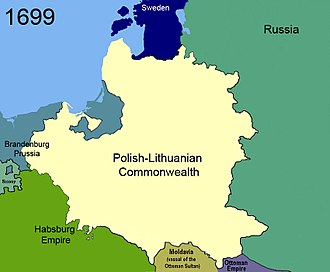 Treaty of Karlowitz - Image: Territorial changes of Poland 1699