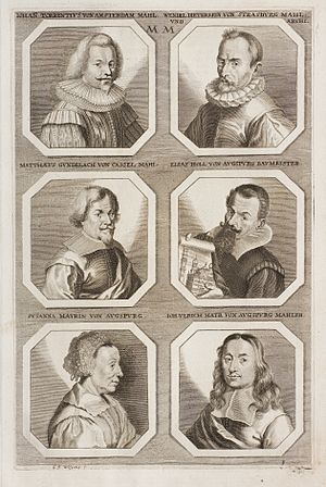 Susanna Mayr - Her engraved portrait was included across from her son's in Sandrart's book of painters in 1683