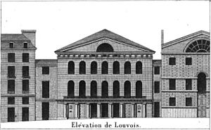 Théâtre Louvois - Facade elevation of the theatre in 1821
