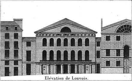 Facade of the Salle Louvois, home of the Theatre-Italien from 1804 to 1808 and 1819 to 1825, designed by Alexandre-Theodore Brongniart Theatre Louvois facade elevation - Donnet 1821 plate12 - GB Princeton.jpg