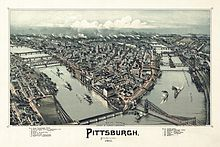 Vogelperspektive von Pittsburgh, 1902