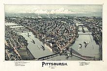 Vista aérea de Pittsburgh, 1902