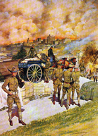 As fires raged through San Francisco, soldiers unload one of many civilian wagons pressed into service during the emergency.