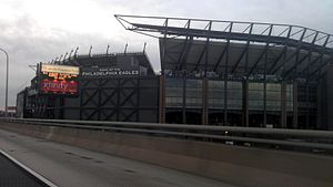 Lincoln Financial Field - Lincoln Financial Field from I-95, before addition of solar panels to exterior.