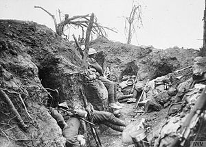 Border Regiment - Troops of the Border Regiment resting in a front line trench in Thiepval Wood, France, August 1916.
