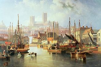 Brayford Pool - The Brayford Pool and Lincoln Cathedral by John Wilson Carmichael