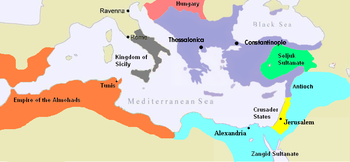 English: A map of the Byzantine Empire, c.1180AD