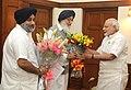 The Chief Minister of Punjab, Shri Parkash Singh Badal calling on the Prime Minister, Shri Narendra Modi, in New Delhi on September 22, 2014. The Deputy Chief Minister of Punjab, Sukhbir Singh Badal is also seen.jpg