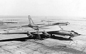 Convair YB-60 - YB-60 prototype, Convair B-36F in the background