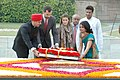The Crown Prince Felipe of Asturias and Princess of Asturias of Spain laying wreath at the Samadhi of Mahatma Gandhi, at Rajghat, in Delhi on November 11, 2009.jpg