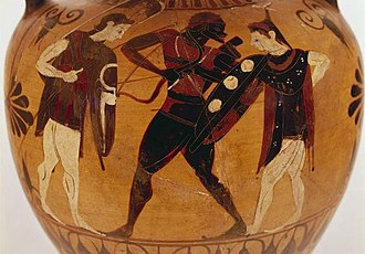 Memnon (mythology) - The departure of Memnon for Troy. Greek, circa 550-525 BC. Black-figure vase. Royal Museums of Art and History, Brussels, Belgium.