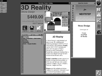 App store - A Screen Shot of Stone Design's 3DReality running on the Electronic AppWrapper, the first app store