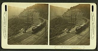 Horseshoe Curve (Pennsylvania) - Stereo card of a train on the curve, circa 1907