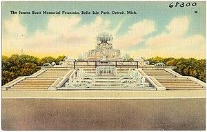 James Scott Memorial Fountain - Image: The James Scott Memorial Fountain, Belle Isle Park, Detroit, Mich (68300)