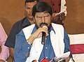 The Minister of State for Social Justice & Empowerment, Shri Ramdas Athawale addressing the press conference, in Hyderabad on September 25, 2016.jpg
