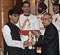 The President, Shri Pranab Mukherjee presenting the Padma Bhushan Award to Prof. Manjul Bhargava, at a Civil Investiture Ceremony, at Rashtrapati Bhavan, in New Delhi on April 08, 2015.jpg