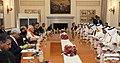 The Prime Minister, Shri Narendra Modi and the Prime Minister of Qatar, Sheikh Abdullah bin Nasser bin Khalifa Al Thani, at the delegation level talks, at Hyderabad House, in New Delhi on December 03, 2016.jpg