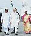 The Prime Minister, Shri Narendra Modi being seen off by the Governor of Jharkhand, Smt. Droupadi Murmu and the Chief Minister of Jharkhand, Shri Raghubar Das, on his departure from Ranchi, Jharkhand on September 23, 2018.JPG