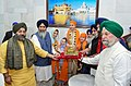 The Prime Minister of Canada, Mr. Justin Trudeau being honoured by Sardar Gobind Singh Longowal, President of Shiromani Gurdwara Prabandhak Committee (SGPC), during his visit to Golden Temple, in Amritsar.jpg