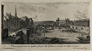 Paris in the 17th century - The Seine, the Pont Neuf, and the convent of the Augustinians on the left
