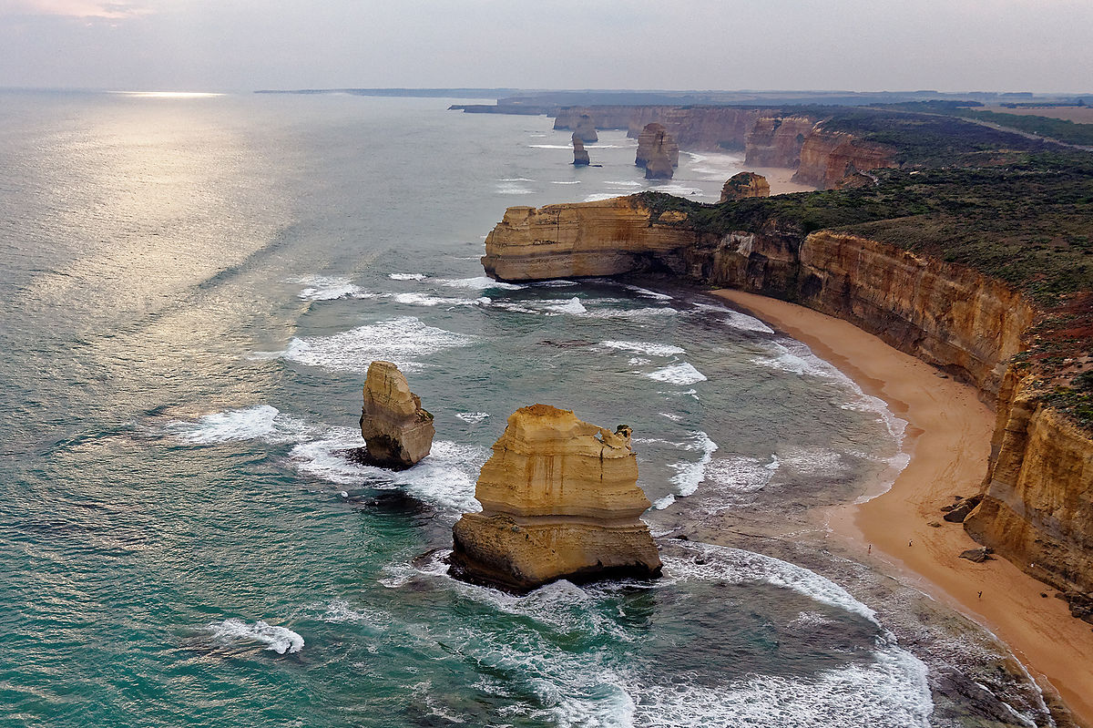 the 12 apostles Victoria's iconic twelve apostles may have to rethink its name after the discovery of five extra limestone columns hidden deep beneath the ocean limestone sea stacks found with sonar mapping 6km offshore from great ocean road, 50m underwater preserved for up to 60,000 years sea level changes.