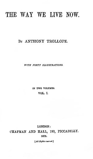 The Way We Live Now - First edition title page