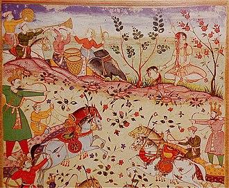 Jayadratha - Jayadratha beheaded by Arjuna, made by Mughal artists Baswan and Miskin, a folio of Razmnama