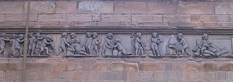 Wool-stapler - Wool-staplers at work The frieze of the Leith Corn Exchange