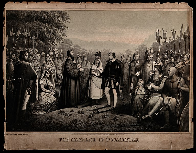 Datei:The marriage of Pocohontas to John Rolfe Wellcome V0050148.jpg