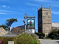 The pine, the pub sign and the church - Zennor - geograph.org.uk - 1807780.jpg