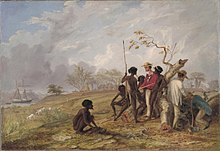 Thomas Baines with Aborigines near the mouth of the Victoria River, N.T., olio su tela, 45 × 65.5 cm, 1857, eseguito da Thomas Baines
