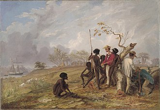 Thomas Baines with Aborigines near the mouth of the Victoria River. Thomas Baines, Thomas Baines with Aborigines near the mouth of the Victoria River, N.T, 1857.jpg