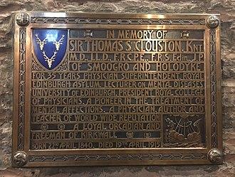 Thomas Clouston - Thomas Clouston memorial in Kirkwall Cathedral, Orkney