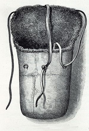 Sleeping bag - A three-person buffalo sleeping bag used during Arctic exploration circa 1880