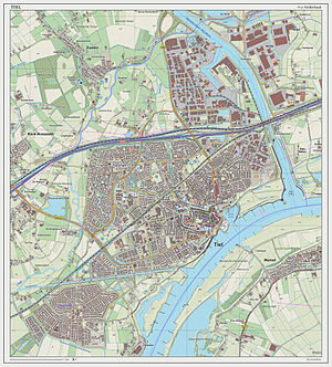 Tiel - Dutch Topographic map of Tiel (town), as of March 2014