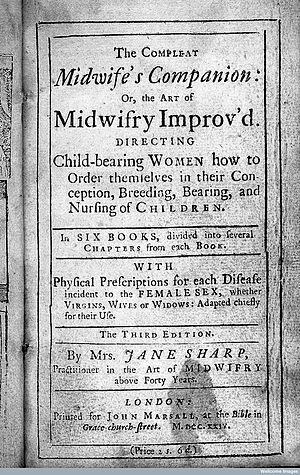 Jane Sharp - Title page of the complete midwife's companion by Jane Sharp
