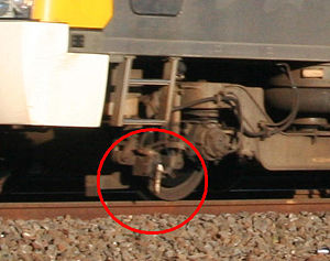 Train stop - Train-mounted trip cock, located on the leading bogie of a Siemens EMU