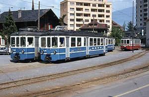 Monthey - Trams of the old B.L.T. line at a former station in Monthey