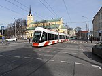 Tram 501 in front of St. John's Church in Tallinn 6 April 2015.JPG
