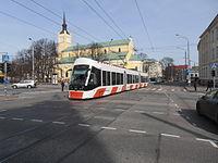 Tram 501 in front of St. John's Church in Tallinn 6 April 2015.JPG