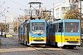 Tram in Sofia near Russian monument 030.jpg