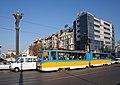 Tram in Sofia near Sofia statue 2012 PD 057.jpg